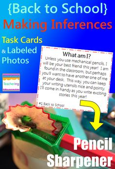 """Making Inferences task cards and vocabulary photo match. Back to School themed with items found in the classroom and school. Play as scoot, search the room, or center. """"What am I"""" clues match to labeled photographs showing each vocabulary word. Students infer about the described vocabulary on each task card and record answers. Supports ELL and visual learners! Vocab pictures included: backpack cafeteria classroom computer homework library pencil sharpener planner recess swings"""