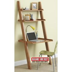 While browsing in a furniture store for a small desk for his wife, reader Joel Rupert, found inspiration when he spied a ladder-type bookcase. He modified the design with only two upper shelves and a desk-height worksurface perfect for a laptop computer. Knockdown fasteners securely hold the desk together, and allow quick disassembly for storage or transport. - See more at: https://www.woodstore.net/plans/furniture/desks/596-Knockdown-Wall-Desk.html#sthash.Q0Ise0il.dpuf