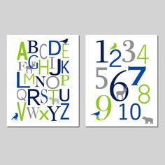 Woodland Nursery Alphabet and Numbers  Baby Boy Nursery by Tessyla