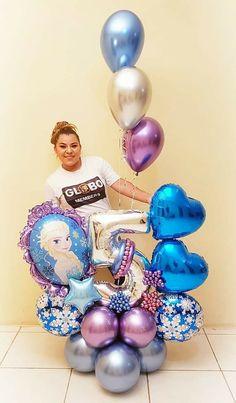 Frozen Balloon Decorations, Frozen Balloons, Bubble Balloons, Fiesta Decorations, Birthday Party Decorations, Birthday Parties, Number Balloons, Frozen 3rd Birthday, Frozen Birthday Theme