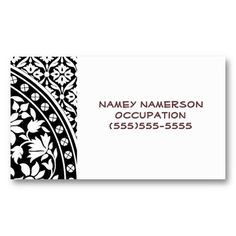 Indian Black and White Floral Geometric Pattern Business Cards #blackandwhite #floralpattern #indian #iconographique