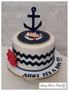 Sailor Boy Baby Shower Cake - by SpringBloomCakes @ CakesDecor.com - cake decorating website