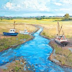 Halima Washington-Dixon | Contemporary Fine Art - Resting Boats on the River Crouch II (Battlesbridge, Essex)