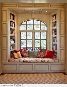 have the bookshelves facing the room make the window seat more like a chaise and this might work for me