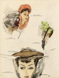 Mourgue 1947 Hats, Claude Saint-Cyr, Paulette, Jane Blanchot, Legroux Soeurs