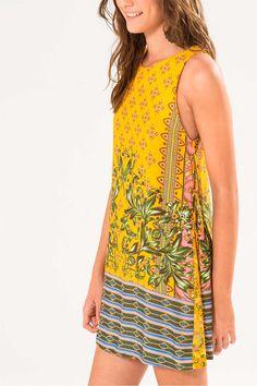 Vestido Farm Godê Barina - Modelagem reta, detalhe em amarração nas laterais