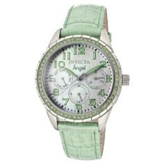 Invicta Women's 12605 Angel White Mother-Of-Pearl Dial Crystal Accented Lime Green Leather Watch Invicta. $99.00. Water-resistant to 50 M (165 feet). Flame-fusion crystal; stainless steel case; lime green leather strap with alligator pattern. Swiss quartz movement. Day, date and 24 hour subdials. White mother of pearl dial with silver tone and green hands and Arabic numerals; luminous; 58 green crystals set on stainless steel bezel