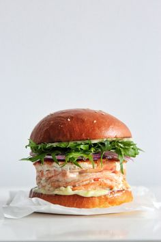 Japanese fish burger// Love this simple styling with a neutral backdrop. Allows me to only see the beauty of the fish burger.