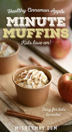 Healthy Cinnamon Apple Minute Muffins - An easy snack recipe kids can make. Big kids and teens will have fun making these easy muffins using just 4 basic ingredients. Applesauce, oatmeal, Bisquick and cinnamon sugar. Just mix and microwave for one minute. Make these in a mug, ramekin or paper snack cups. Kids gobble them up! #minutemuffins #kidssnackrecipe