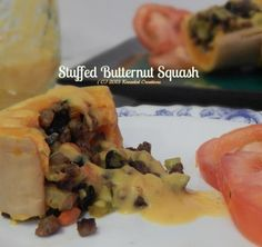 Butternut Squash stuffed with a rich savory filling