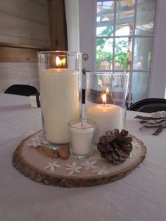 Candles on wood slices - timeless! khimaira farm wedding venue Shenandoah Valley Blue Ridge Mountains Luray VA
