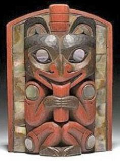 Mask; Northwest Coast, Seated Bear, Abalone Inlay, 6 inch.  A Northwest Coast frontlet, painted in red and brown and carved with a seated bear; abalone shell inlay.