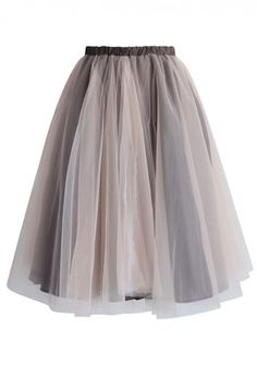 Amore Mesh Tulle Skirt in Taupe