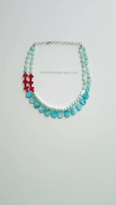 Hey, I found this really awesome Etsy listing at https://www.etsy.com/listing/232469669/red-turquoise-statement-necklace