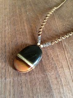 Mookaite necklace, men's macrame necklace, natural stone necklace, black & brown, Oval shape Mookaite jasper, Surf, boho, Rustic, men's gift
