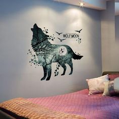 Wolf Moon wall sticker Fascinating wolf motif in high-quality, detailed workmanship. A highlight for every wolf lover! x Material: PVC washable and removable without residue. Diy Wall Stickers, Wall Decal Sticker, Window Stickers, Wolf Howling, Wolf Tattoos, Warrior Cats, Room Decor, Art Decor, Wallpaper