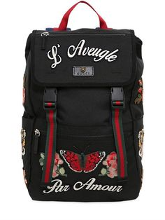 GUCCI - EMBROIDERED NYLON BACKPACK - BACKPACKS - BLACK - LUISAVIAROMA