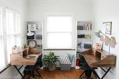 A neglected room is transformed into a clean and functional shared office space for children and adults! A perfect place to work and study. Home Office Space, Home Office Design, Home Office Furniture, Home Office Decor, Home Decor, Office Playroom, Office Organization At Work, Organization Ideas, Office Ideas