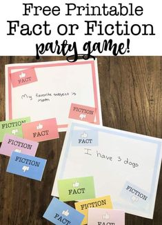 Fact or Fiction Game for Kids! Easy Kids Party Games, Kids Party Games Indoor, Girls Birthday Party Games, Birthday Party At Home, Birthday Activities, Birthday Themes For Boys, Kids Party Themes, Birthday Ideas, Party Ideas