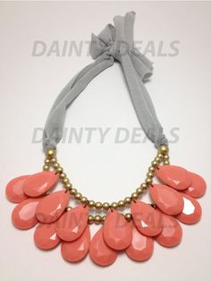 Slightly Imperfect Anthropologie Inspired Briolette Necklace - Salmon on Etsy, $4.99