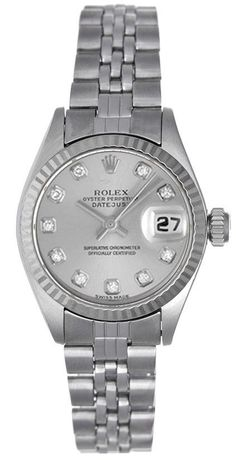 Rolex Ladies Datejust Stainless Slate Diamond Dial - Box & Booklets  #Rolex