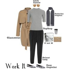 Work It by sophie-poualion on Polyvore featuring Topshop, Glamorous, Helmut Lang, Enzo Angiolini, H&M, Linda Farrow and Dot & Bo