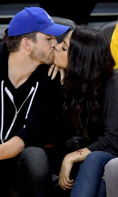 Mila Kunis and Ashton Kutcher Lock Lips in a Kiss-Cam-Worthy Moment at the NBA Finals
