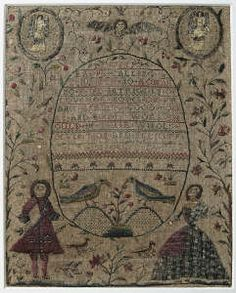 Sampler (verse, stitches & pictorial), made in Wales, 1727