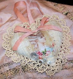 Nostalgic Collage': Antique Lace Valentine Marie Heart