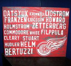 Detroit Red Wings 11x14 Canvas Board Roster by 21CannonSalute, $24.99 On sale and filppula fixed