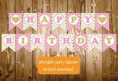 Happy Birthday Gold Pink Heart Banner Printable Chevron