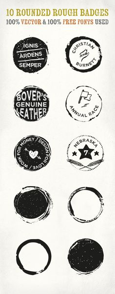 Today we have for you an original set of 10 rounded rough badges crafted with real seals and ink for a perfect vintage...