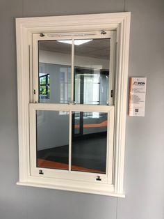 uPVC Sash window in woodgrain effect - view from inside Upvc Sash Windows, Edwardian House, Bathroom Windows, Side Window, Window Dressings, Window Design, New Homes, Window Ideas, Farm House