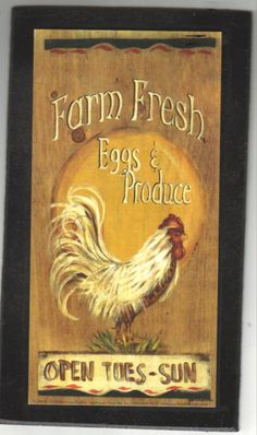 CHICKEN Fresh Eggs Produce Primitive Country by carolalden