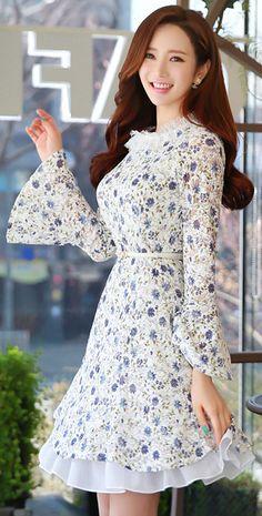 StyleOnme_Floral Print Lace Neckline Bell Sleeve Flared Dress #floral #flower #bellsleeve #lace #dress #elegant #pretty #feminine #koreanfashion #springtrend #kstyle
