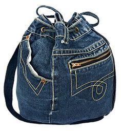 BDJ Drawstring Blue Denim Women Hobo Shoulder Bucket Handbag Model DNB-045 Bijoux De Ja