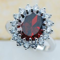 Garnet 925 Sterling Silver Top Quality Fancy Jewelry wedding  Ring Size 5 6 7 8 9 10 11 F1180