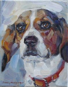 "Daily Paintworks - ""Beagle"" - Original Fine Art for Sale - © jerry hunsinger"