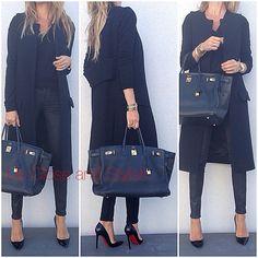 @upcloseandstylish #Balenciaga Top, #Zara Vest and #Rag_Bone Leather and Denim Pants. #Hermès #Birkin 40 and #Louboutin #Pigalle 120mm.