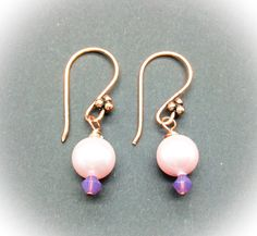 Pink Swarovski pearls and crystals earrings by AGDesignCreatif Crystal Earrings, Drop Earrings, Swarovski Pearls, Bronze, Bridesmaid, Crystals, Pink, Gifts, Jewelry