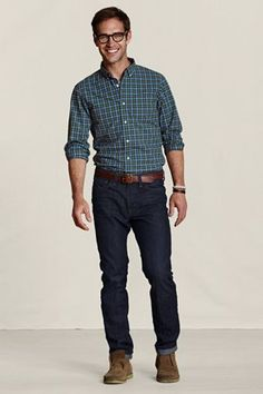 Lands' End Canvas Holiday Look - Deep Clover Heritage Plaid Poplin Shirt. $49.50. Tucked or untucked -- either way it always works.