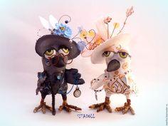 Купить Парочка ворон - ручная работа, подарок, игрушка ручной работы, интерьерная игрушка