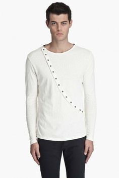 """BUCKLER, ASYMMETRICAL JERSEY T-SHIRT: """"snap placket,"""" said in the """"hot pocket"""" voice."""