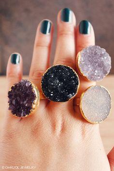 Gold Druzy Quarz Ringe - Achat Druzy Ring - verstellbare Größe, Anweisung Ringe, Geschenke unter 40
