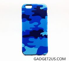 Blue camouflage pattern case for Apple iPhone6, made by leather