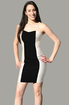 CaeliNYC Two toned dress, black and white dress
