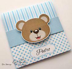 convite artesanal ursinho azul e branco