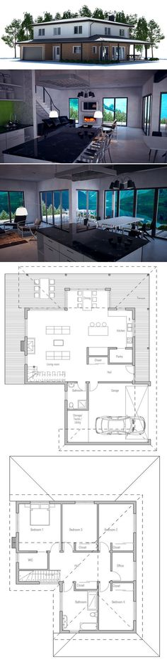 Modern House Plan with 4 bedrooms, covered terrace. Dream House Plans, Modern House Plans, Small House Plans, House Floor Plans, My Dream Home, Building Plans, Building A House, House Layouts, Architecture Plan