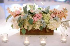 Rustic boxed centerpieces with soft pinks and whites, Created by Passion Roots, Hawaii Wedding Florist. www.passionroots.com