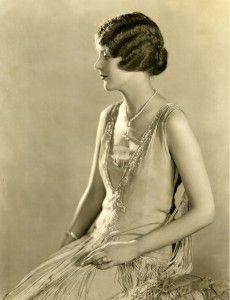 1926 June Collyer V Cut Beaded Chiffon Dress